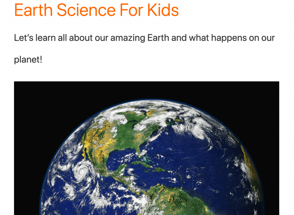 Cool Kid Facts - list of science resources for kids