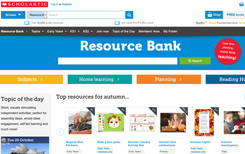 Scholastic Science - Online Resource Bank - list of science resources for kids