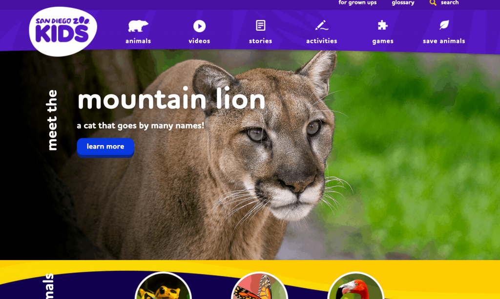 The San Diego Zoo - list of science resources for kids