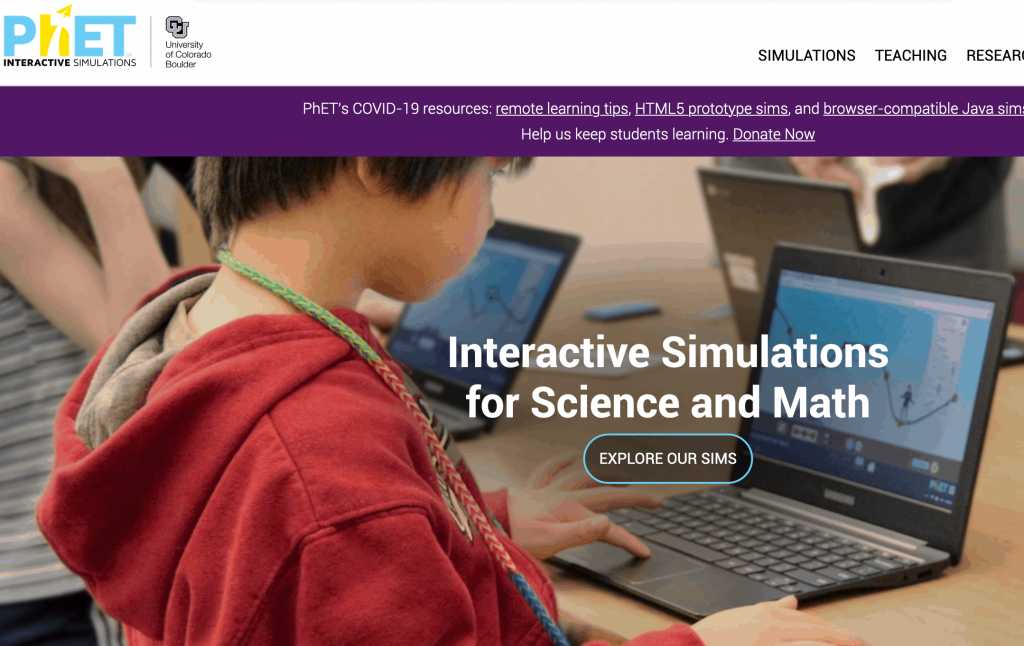 PhET Interactive Simulations - list of science resources for kids