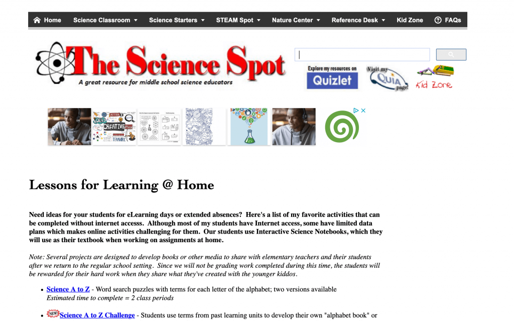 Science spot children's science resources - list of science resources for kids