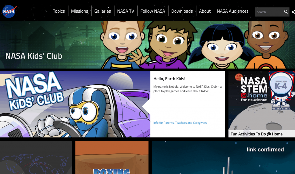 NASA Kids Club - list of science resources for kids